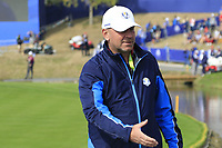 Team Europe Captain Thomas Bjorn on the 18th green during Friday's Fourball Matches at the 2018 Ryder Cup, Le Golf National, Iles-de-France, France. 28/09/2018.<br /> Picture Eoin Clarke / Golffile.ie<br /> <br /> All photo usage must carry mandatory copyright credit (© Golffile | Eoin Clarke)