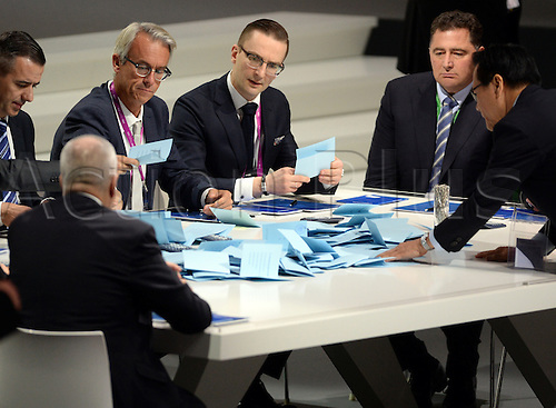 26.02.2016. Zurich, Switzerland.  FIFA-officials count the ballots for the president's elections, during the Extraordinary FIFA Congress 2016 held at the Hallenstadion in Zurich, Switzerland during the Extraordinary FIFA Congress 2016 held at the Hallenstadion in Zurich, Switzerland, 26 February 2016. The Extraordinary FIFA Congress is being held in order to vote on the proposals for amendments to the FIFA Statutes and choose the new FIFA President.