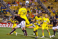 21 AUGUST 2010:  Colorado Rapids defender Drew Moor (3)  and Chad Marshall of the Columbus Crew (14) during MLS soccer game between Colorado Rapids vs Columbus Crew at Crew Stadium in Columbus, Ohio on August 21, 2010.