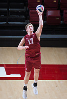 STANFORD, CA - March 2, 2019: Eli Wopat at Maples Pavilion. The Stanford Cardinal defeated BYU 25-20, 25-20, 22-25, 25-21.