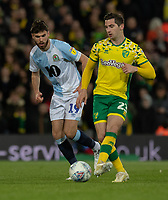 Norwich City's Kenny McLean (right) under pressure from Blackburn Rovers Ben Brereton (left) <br /> <br /> Photographer David Horton/CameraSport<br /> <br /> The EFL Sky Bet Championship - Norwich City v Blackburn Rovers - Saturday 27th April 2019 - Carrow Road - Norwich<br /> <br /> World Copyright © 2019 CameraSport. All rights reserved. 43 Linden Ave. Countesthorpe. Leicester. England. LE8 5PG - Tel: +44 (0) 116 277 4147 - admin@camerasport.com - www.camerasport.com
