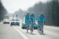 Ronde van Vlaanderen 2016 recon with Team Astana, with 3 Days od De Panne winner Lieuwe Westra (NLD/Astana) at the helm together with teammates Jakob Fuglsang (DEN/Astana) & Lars Boom (NLD/Astana)