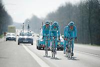 Ronde van Vlaanderen 2016 recon with Team Astana, with 3 Days od De Panne winner Lieuwe Westra (NLD/Astana) at the helm together with teammates Jakob Fuglsang (DEN/Astana) & Lars Boom (NLD/Astana)