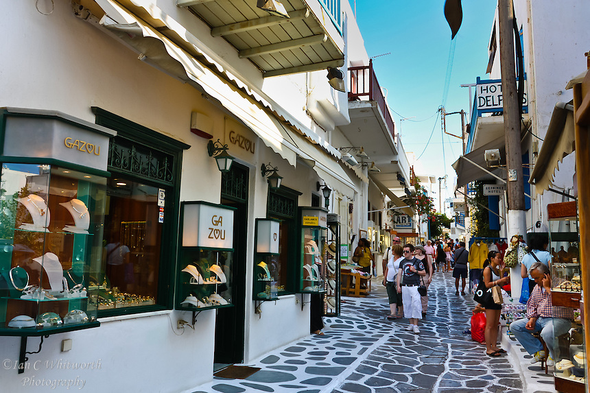 A view down the lane of shops in Mykonos