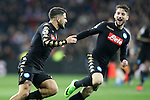 SSC Napoli's Lorenzo Insigne (l) and Dries Mertens celebrate goal during Champions League 2016/2017 Round of 16 1st leg match. February 15,2017. (ALTERPHOTOS/Acero)