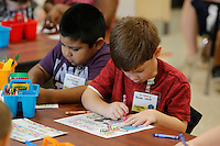 NWA Democrat-Gazette/DAVID GOTTSCHALK  The first day of school at Owl Creek School the  continuous learning school Tuesday, August 4, 2015 in Fayetteville. Schools on the traditional learning calendar will begin Monday, August 17.