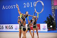 Rhythmic group from Israel performs with 5-hoops at 2010 Pesaro World Cup on August 28, 2010 at Pesaro, Italy.  Photo by Tom Theobald.