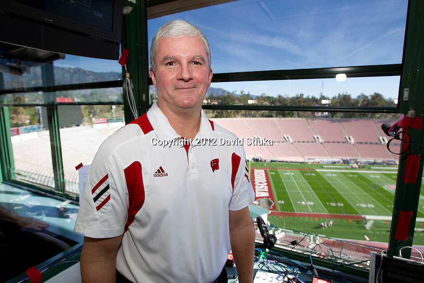 The Voice of the Wisconsin Badgers, Matt Lepay, before the 2012 Rose Bowl NCAA football game against the Oregon Ducks in Pasadena, California on January 2, 2012. The Ducks won 45-38. (Photo by David Stluka)