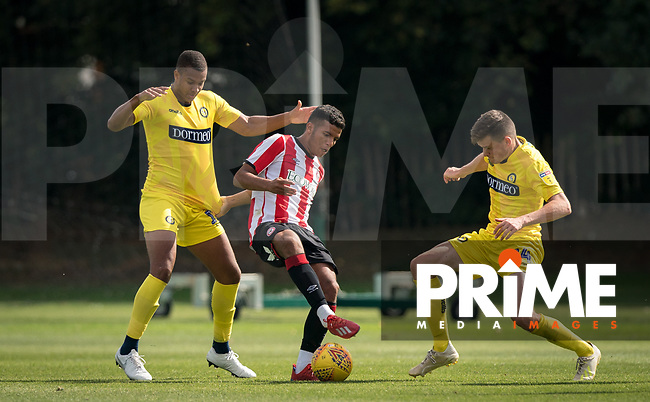 Giles Phillips (on loan from QPR) of Wycombe Wanderers & Jacob Gardiner-Smith of Wycombe Wanderers during the behind closed doors friendly between Brentford B and Wycombe Wanderers at Brentford Football Club Training Ground & Academy, 100 Jersey Road, TW5 0TP, United Kingdom on 3 September 2019. Photo by Andy Rowland.