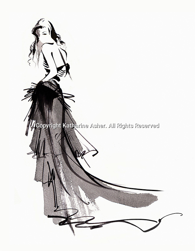 Fashion model posing in long flowing evening gown