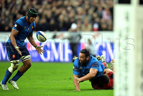 28.02.2015. Stade de France, Paris, France. 6 Nations International Rugby. France versus Wales.  Uini Atonio (fra) - Thierry Dusautoir (fra)