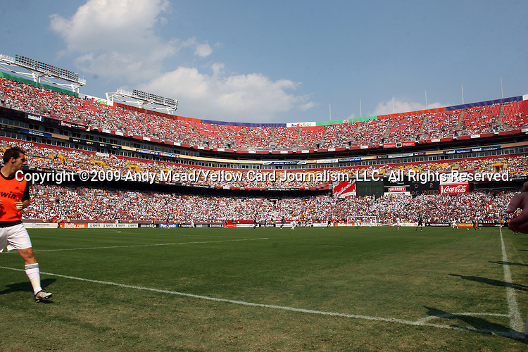 09 August 2009: Over 70,000 fans attended the game. Real Madrid of Spain's La Liga defeated DC United of Major League Soccer 3-0 at FedEx Field in Landover, Maryland in an international club friendly soccer match.