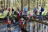Kinder einer 2. Grundschulklasse machen einen Schulausflug an einen Bach im Frühling und genießen das frische, kalte Wasser, Schule, Schulklasse