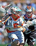 23 August 2008: Los Angeles Riptide Midfielder Greg Downing (8) in action against the Denver Outlaws during the Semi-Finals of the Major League Lacrosse Championship Weekend at Harvard Stadium in Boston, MA. The Outlaws edged out the Riptide 13-12, advancing to the upcoming Championship Game.. .Mandatory Photo Credit: Ed Wolfstein Photo