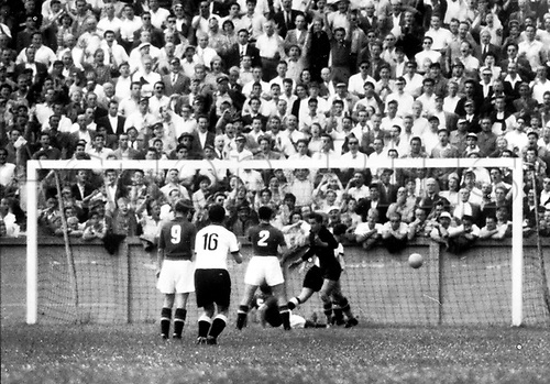 World Cup Finals, Berne, Switzerlsnd. An own goal by Yugoslavian defender Ivica Horvath (below). Fritz Walter (No. 16) rejoices.Vladimir Beara (r, in front) and  Bernard Vukas (No. 9) and Branko Stankovic (No. 2) look on. German team wins on 27.06.1954 before 17,000 spectators in the Les Charmilles stadium in Geneva in the quarter final game against Yugoslavia by a score of 2:0.