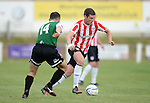10 July 2014; Patrick McEleney, Derry City, in action against, Aberystwyth Town. UEFA Europa League First Qualifying Round, Second Leg, Aberystwyth Town v Derry City. Park Avenue, Aberystwth, Wales. Picture credit: Ian Cook / SPORTINGWALES
