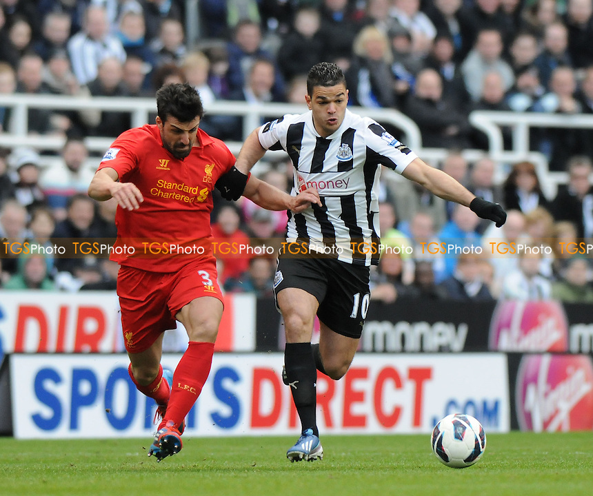 Hatem Ben Arfa of Newcastle United battles with José Enrique of Liverpool - Newcastle United vs Liverpool - Barclays Premier League Football at St James Park, Newcastle upon Tyne - 27/04/13 - MANDATORY CREDIT: Steven White/TGSPHOTO - Self billing applies where appropriate - 0845 094 6026 - contact@tgsphoto.co.uk - NO UNPAID USE