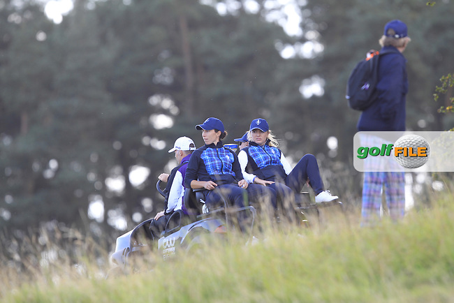 Carlota Ciganda & Bronte Law of Team Europe getting a buggy ride to the 9th tee during Day 1 Fourball at the Solheim Cup 2019, Gleneagles Golf CLub, Auchterarder, Perthshire, Scotland. 13/09/2019.<br /> Picture Thos Caffrey / Golffile.ie<br /> <br /> All photo usage must carry mandatory copyright credit (© Golffile | Thos Caffrey)