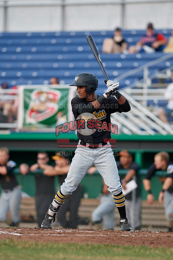 West Virginia Black Bears right fielder Michael De La Cruz (30) at bat during a game against the Batavia Muckdogs on July 2, 2018 at Dwyer Stadium in Batavia, New York.  West Virginia defeated Batavia 3-1.  (Mike Janes/Four Seam Images)