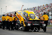 Jul 19, 2020; Clermont, Indiana, USA; NHRA funny car driver J.R. Todd during the Summernationals at Lucas Oil Raceway. Mandatory Credit: Mark J. Rebilas-USA TODAY Sports