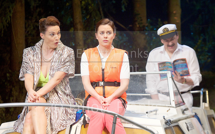 Way Up Stream <br /> by Alan Ayckbourn <br /> <br /> at The Festival Theatre Chichester, Great Britain <br /> <br /> 27th April 2015 <br /> <br /> Press photocall <br /> <br /> <br /> Jill Halfpenny as Emma <br /> Sarah Parish as June <br /> <br /> <br /> <br /> <br /> <br /> Photograph by Elliott Franks <br /> Image licensed to Elliott Franks Photography Services
