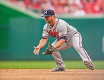 4 April 2014: Atlanta Braves second baseman Dan Uggla in action during the Washington Nationals Home Opening Game at Nationals Park in Washington, DC. The Braves edged out the Nationals 2-1 in their first meeting of the 2014 MLB season. Mandatory Credit: Ed Wolfstein Photo *** RAW (NEF) Image File Available ***