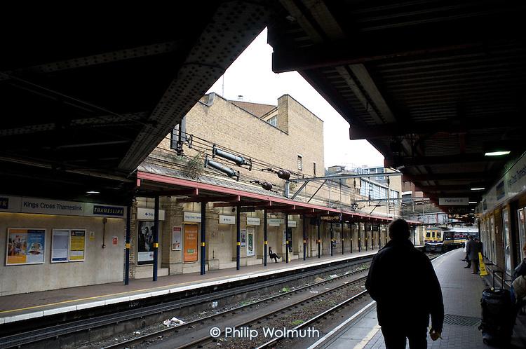 Waiting on the platform of Kings Cross Thameslink Station