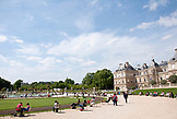 FRANCE, Paris, People sitting and relaxing in Jardin du Luxembourg
