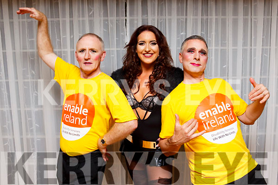 Gerry O'Reilly, Tara Dore and Pat Reidy pictured at the Enable Ireland Lip Sing battle at the Ballyroe Heights hotel on Saturday night.