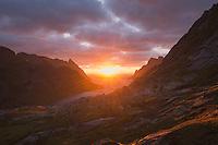 Autumn sunrise over Reine from near Vindstad, Moskenesøy, Lofoten Islands, Norway