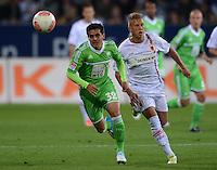 FUSSBALL   1. BUNDESLIGA  SAISON 2012/2013   3. Spieltag FC Augsburg - VfL Wolfsburg           14.09.2012 Fagner (li, VfL Wolfsburg) gegen Matthias Ostrzolek (FC Augsburg)