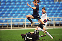 USA midfielder Heather O'Reilly soars over German goalkeeper Nadine Angerer.  The USA captured the 2010 Algarve Cup title by defeating Germany 3-2, at Estadio Algarve on March 3, 2010.