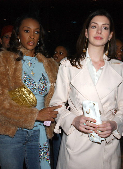 WWW.ACEPIXS.COM . . . . . ....NEW YORK, FEBRUARY 10, 2005....Vivica Fox and Anne Hathaway at the Zac Posen Fall 2005 show in Bryant Park.....Please byline: KRISTIN CALLAHAN - ACE PICTURES.. . . . . . ..Ace Pictures, Inc:  ..Philip Vaughan (646) 769-0430..e-mail: info@acepixs.com..web: http://www.acepixs.com