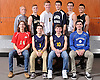 The 2015 Newsday All-Long Island boys' volleyball team poses for a group picture at company headquarters on Friday, Dec. 4, 2015. Appearing are, FRONT ROW, FROM LEFT: Kyle Biggers - Sachem East, Andrew Walsh - Massapequa, Alec Helford - Massapequa and Andrew Tsororos - Hauppauge. BACK ROW, FROM LEFT: Coach Bruce Stiriz - Eastport-South Manor, Rob Nolan - Sachem North, Chris Allen - Ward Melville, Brian Maloney - Plainview JFK, Kyle Allen-Morabito - Eastport-South Manor and Matt Grace - Sachem North.