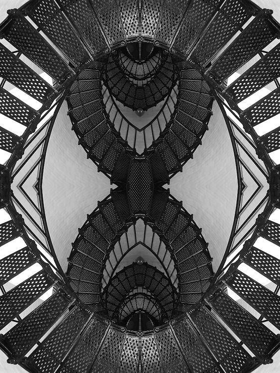 Decision is an Escher-like pattern created from a photograph of metal, lighthouse stairs taken in Oregon. The resultant image can be hung either as a portrait or a landscape - the choice up to the persons hanging it - their decision - their preference. The image is best printed on metallic finished paper.