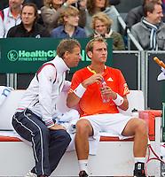 14-09-12, Netherlands, Amsterdam, Tennis, Daviscup Netherlands-Swiss,  Thiemo de Bakker  on the Dutch bench with captain Jan Siemerink