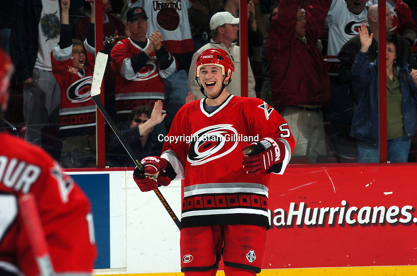 The Carolina Hurricanes' Frantisek Kaberle of the Czech Republic celebrates his game-winning shootout goal against the Nashville Predators Friday, January 13, 2006 in Raleigh, NC. Carolina won 5-4.