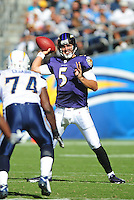 Sep. 20, 2009; San Diego, CA, USA; Baltimore Ravens quarterback (5) Joe Flacco against the San Diego Chargers at Qualcomm Stadium in San Diego. Baltimore defeated San Diego 31-26. Mandatory Credit: Mark J. Rebilas-
