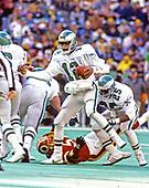 Philadelphia Eagles quarterback Randall Cunningham in action against the Washington Redskins at Veterans Stadium in Philadelphia, Pennsylvania on December 21, 1986.  The Redskins won the game 21 - 14.<br /> Credit: Arnie Sachs / CNP