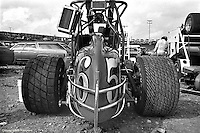 Rear view of a car at the 1977 USAC sprint car race at Eldora Speedway near Rossburg, Ohio.
