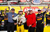 Richie Crampton, DHL, top fuel, victory, celebration, trophy, crew, staff