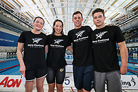 Youth Olympic nominees, L_R); Erica Fairweather, Gina Galloway, Zac Reid and Michael Pickett. AON Swimming New Zealand National Open Swimming Championships, National Aquatic Centre, Auckland, New Zealand, Friday 6 July 2018. Photo: Simon Watts/www.bwmedia.co.nz
