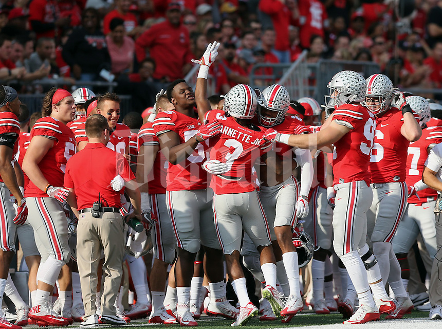 Ohio State Buckeyes cornerback Damon Arnette (3) celebrates his interception in the second quarter of their game at Ohio Stadium in Columbus, Ohio on October 29, 2016. (Columbus Dispatch photo by Brooke LaValley)