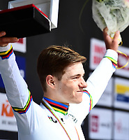 Picture by Simon Wilkinson/SWpix.com - 24/09/2018 - Cycling 2018 Road Cycling World Championships Innsbruck-Tiriol, Austria - Junior Men's Individual Time Trial - Remco Evenepoel of Belgium in the Rainbow Jersey.