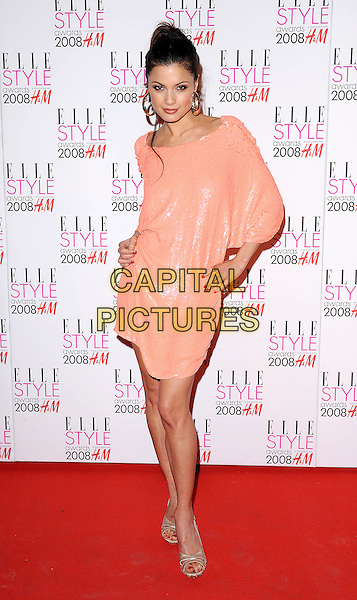 NATASSIA SCARELET MALTHE.attending the Elle Style Awards 2008, The Westway, London, England,.12th February 2008..full length peach dress hands on hips.CAP/BEL.?Tom Belcher/Capital Pictures