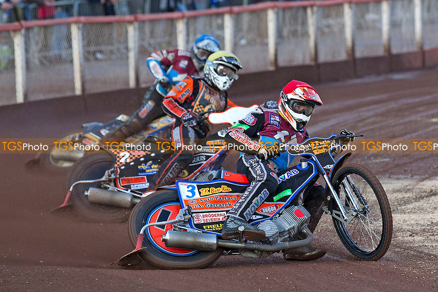 Peter Karlsson of Lakeside Hammers leads from Tyron Procter, Wolverhampton Wolves - heat 5 - Lakeside Hammers vs Wolverhampton Wolves - Sky Sports Elite League Speedway at Arena Essex Raceway, Purfleet - 20/07/12 - MANDATORY CREDIT: Ray Lawrence/TGSPHOTO - Self billing applies where appropriate - 0845 094 6026 - contact@tgsphoto.co.uk - NO UNPAID USE.