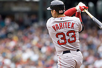 July 23, 2008:  The Boston Red Sox's Jason Varitek takes a healthy swing at a pitch during a game against the Seattle Mariners at Safeco Field in Seattle, Washington.