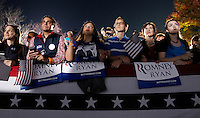 Supporters watched Republican Vice Presidential nominee Paul Ryan speak during a campaign stop Thursday evening at the Crutchfield Corporation in Albemarle County, Va.