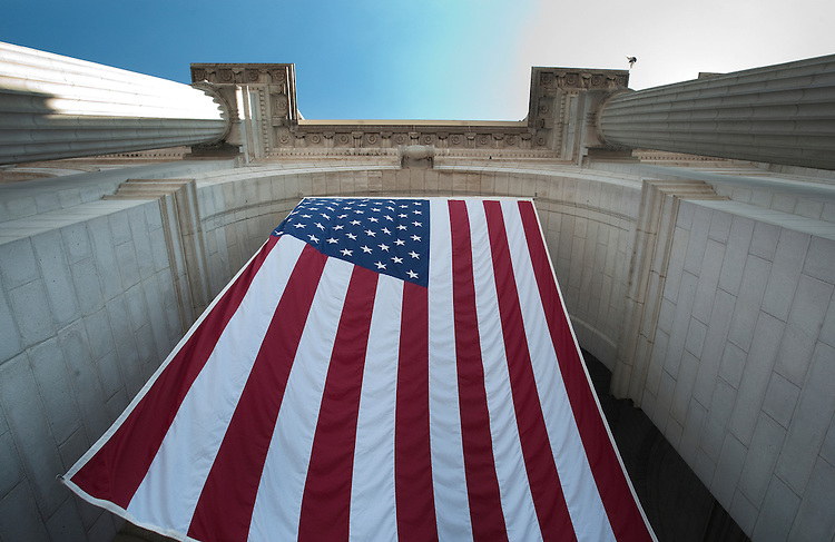 UNITED STATES - JUNE 30: Union Station has giant American flags hanging in the entrance to the great hall for the 4th of July celebrations this coming weekend. (Photo By Douglas Graham/Roll Call)