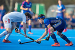 Mannheim, Germany, March 24: During the friendly fieldhockey match between Mannheimer HC (blue) and Nuernberger HTC (white) in the 1. Deutsche Feldhockey Bundesliga on March 24, 2019 at Am Neckarkanal in Mannheim, Germany. (Photo by Dirk Markgraf / www.265-images.com) *** Local caption ***